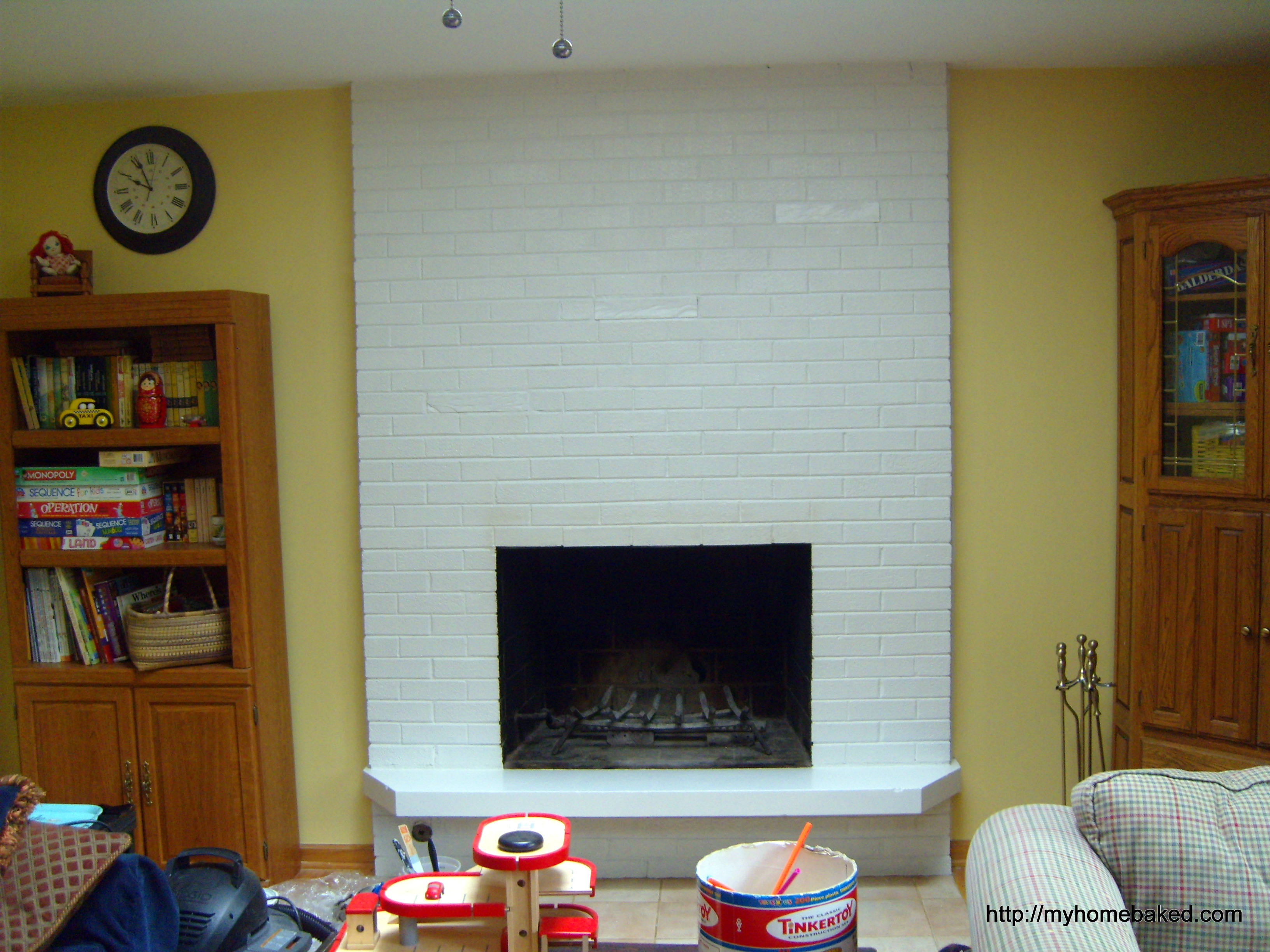family room update painting the fireplace brick home baked