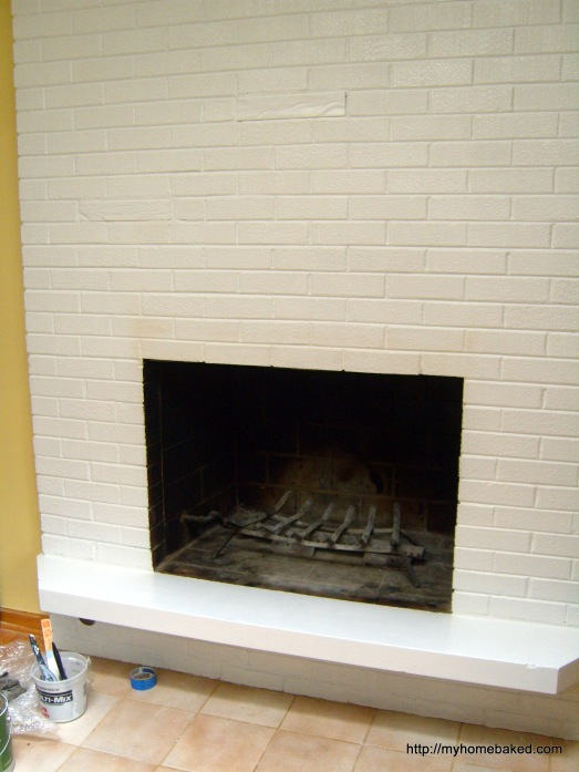 Family room update: Painting the fireplace brick